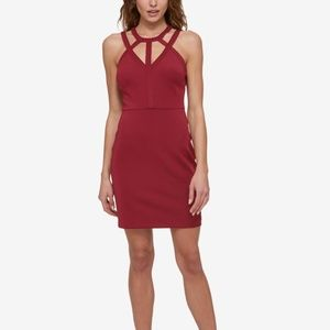 GUESS Caged Scuba Bodycon Dress Burgundy Size 2